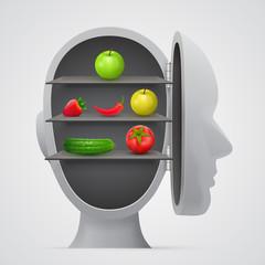 Vegetables inside head. Vegetarian concept.