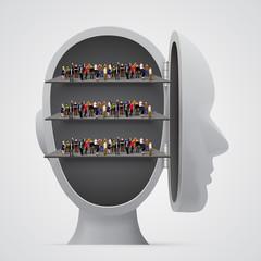 People crowd on shelves inside head.