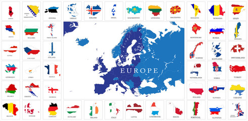 European countries flag maps