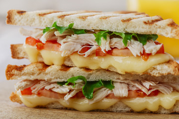 toast sandwich grill with chicken and cheese