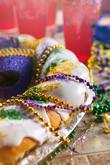 Mardi Gras: King Cake With Hurricane Drinks Behind