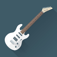 vector colored flat design white electric guitar illustration