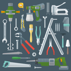 vector colored various flat design house repair tools