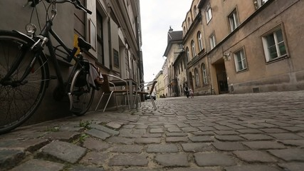 Cobble road, paving, in historical center of Krakow, old city