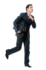 Businessman with briefcase running, isolated
