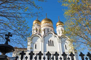 Gold domes of Transfiguration Cathedral in the city of Togliatti