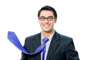 Businessman with raised up blue tie, isolated