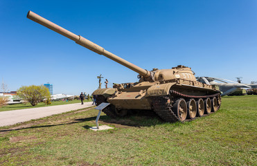 Old soviet tank T- 62 at the technical museum  in Togliatti, Rus