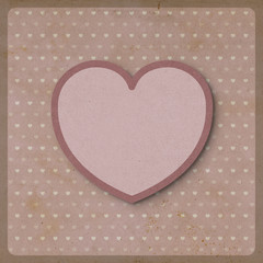 Heart love on retro background made from recycled paper craft