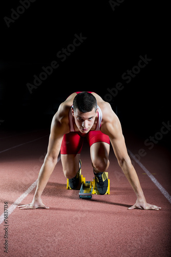 canvas print picture Athlete on the starting block