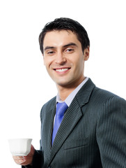 Businessman with cup of coffee, isolated