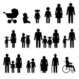 Fototapety Family icons set in black and white