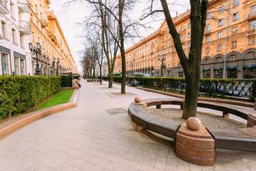 Sidewalk on Lenin Street in spring in Minsk Belarus.