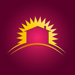 Vector sign sun and house on purple background