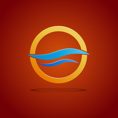 Vector sign waves in the circle on orange background