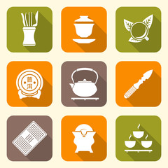 vector white color chinese tea ceremony equipment icons