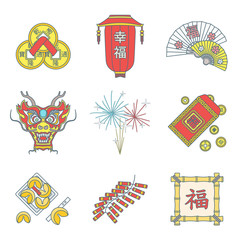 vector colored outline traditional chinese new year icons set