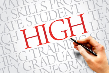 HIGH word cloud, education business concept