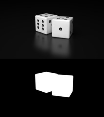 Pair of White Dices with Alpha Channel