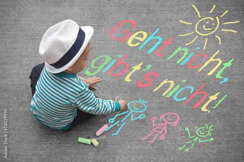 Leinwanddruck Bild Kinderzeichnung - Geht nicht ,gibt´s nicht!