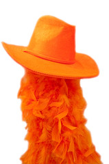 Hat and boa as tipical accessories on the Koningsdag.