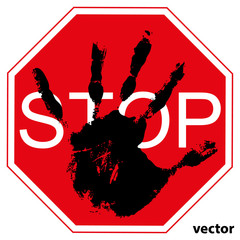 Conceptual  child hand print with a red symbol