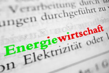 Energiewirtschaft - grün rote Schrift