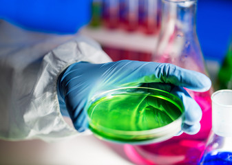 close up of scientist making test in laboratory