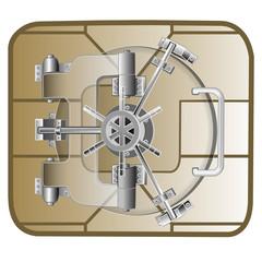 microchip with vault safe door