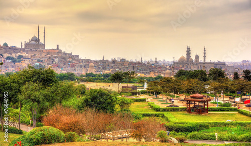 View of the Citadel with Muhammad Ali Mosque from Al-Azhar Park
