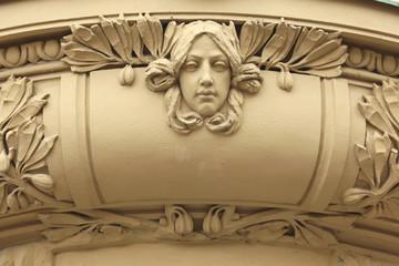 Art Nouveau mascaron in Hradec Kralove, Czech Republic.