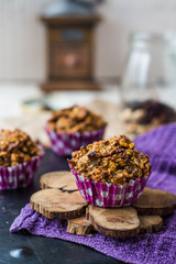 vegan oat muffins with dried fruits and nuts