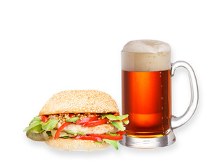 Glass of beer and homemade burger isolated on white background