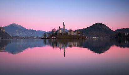 Bled lake.Sunrise.