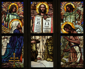Last Judgment. Art Nouveau stained glass window.
