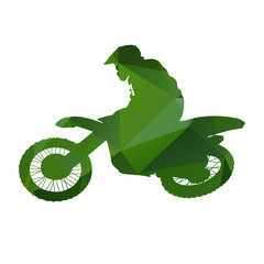 Abstract Green vector motocross racer