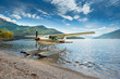 Float plane moored at a beach on Lake Como in Italy, Europe - 76841792
