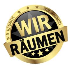 Button with banner Wir Räumen