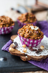 vegan muffins with oat flakes with raisins and nuts