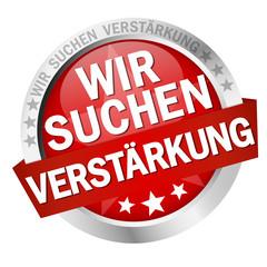 Button with banner Wir suchen Verstärkung