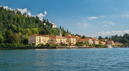 Idyllic Bellagio seen from Lake Como in the afernoon sunlight