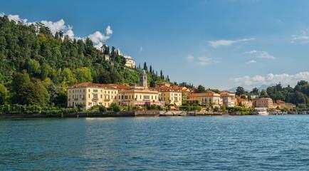 Idyllic Bellagio seen from Lake Como in the afernoon sunlight