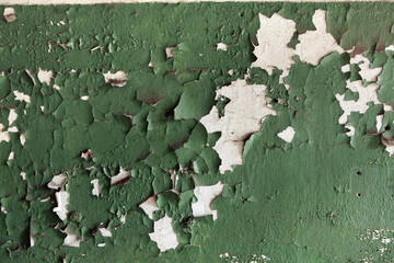 Abandoned wall coloured in green. Background texture.