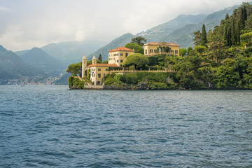 Villa del Balbianello seen from the water, Lake Como, Italy, Eur