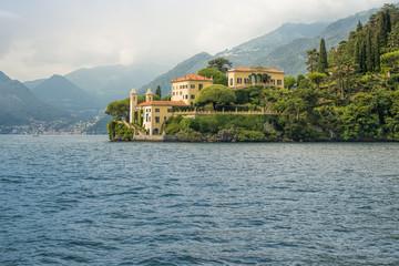 Villa del Balbianello seen from the water, Lake Como, Italy, Eur