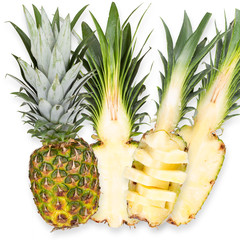 Slices of fresh pineapple isolated on white background