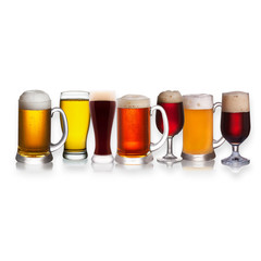 Set of various beer isolated on white background