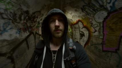Man going in underground tunnel motion footage