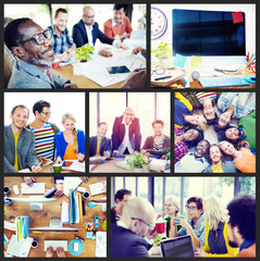 Diverse Group People Working Team Interaction Concept