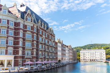 Exterior view of hotel at huis ten bosch, japan